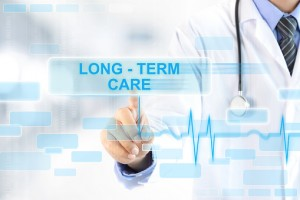 Doctor touching LONG - TERM CARE sign on virtual screen